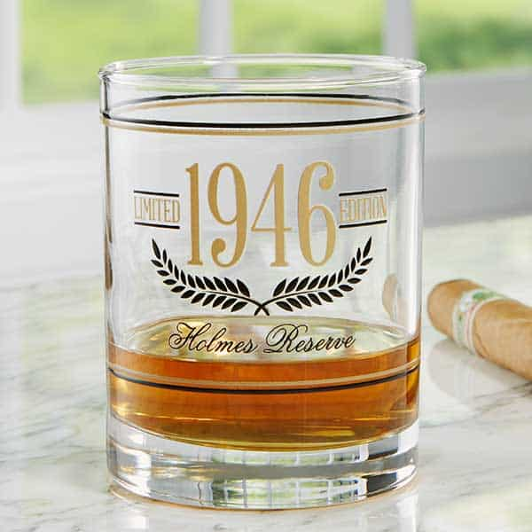 85th Birthday Gifts for Men - Delight Dad, Grandpa or another man who is turning 85 with a personalized whiskey glass that features his birth year.
