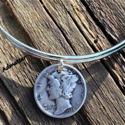 1935 Sterling Silver Dime Bangle Bracelet