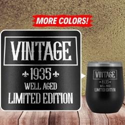 Vintage 1935 85th Birthday Wine Tumbler with Lid