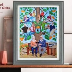 Custom Hand Painted Family Tree Collage