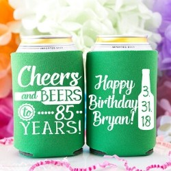 Personalized 85th Birthday Beer Cozy - Choice of Colors