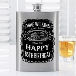 Personalized 85th Birthday Flask for Men