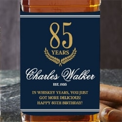 Personalized 85th Birthday Whiskey Bottle Label