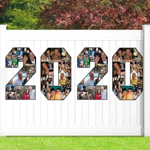 Easy Grad Party Decorating Ideas 2020 - Impress your guest - and show off your favorite pictures - with these fun photo collages! Choose the graduating year or the graduate's initials. Click for details, and to see more easy decorating ideas for graduation parties.