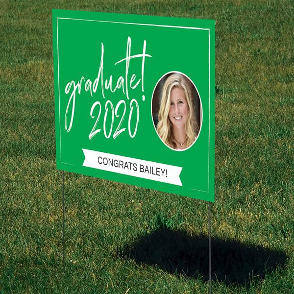 Easy Decorating Ideas for Graduation Parties - Add a festive yard sign to your grad party so guests know they're in the right place! It's also a great way to show everyone who drives by how proud you are of your graduate.