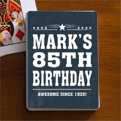 Personalized 85th Birthday Playing Cards for Men