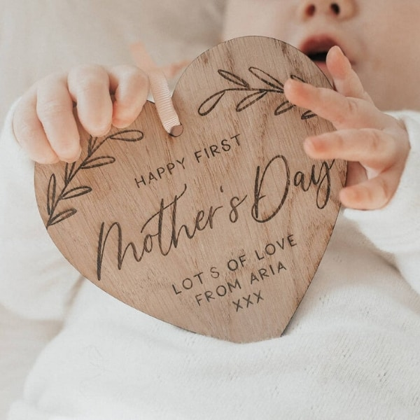 1st Mother's Day Gifts - adorable wood plaque is a sentimental Mother's Day gift the new mom will love! Shop 50+ perfect first Mother's Day gifts.