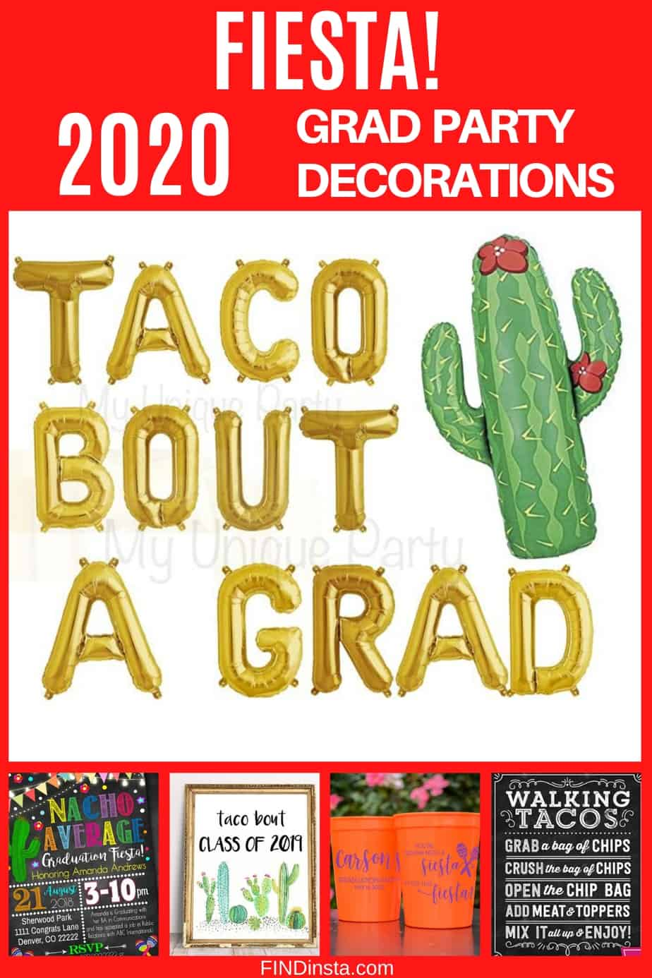 Graduation Party Themes 2020 - What's more festive than a colorful fiesta? Make your son's or daughter's grad party memorable with this festive Mexican fiesta inspired party decorations!  Click for decorating ideas.  #FINDinista #gradparty #graduationparty
