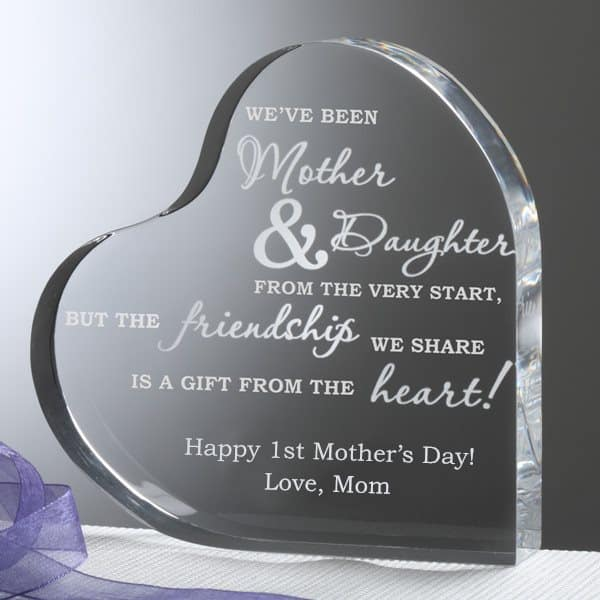 First Mother's Day Gifts for Daughter - Looking for unique first-time Mother's Day gifts for your daughter? Delight her with this personalized heart-shaped keepsake. Shop 50+ awesome gift ideas for a new mom's first Mother's Day!