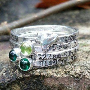Hand Stamped Stacking Mother's Birthstone Ring