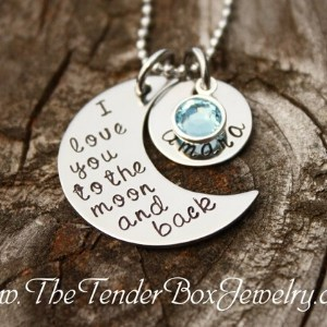 I Love You to The Moon and Back Necklace with Birthstone Charm