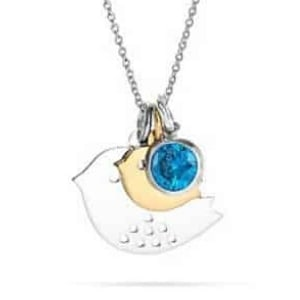 Mom and Baby Bird Birthstone Necklace