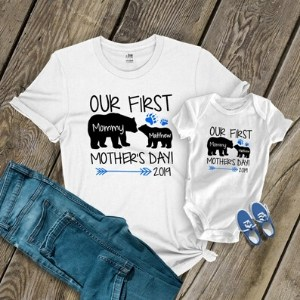 Personalized First Mother's Day Matching Mom & Baby Shirts