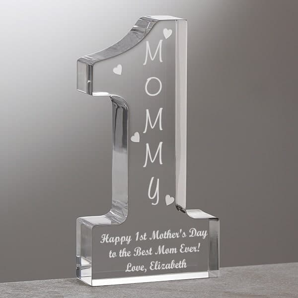 Personalized #1 Mom Gift - Let her know you think she's the best mom ever with this delightful Lucite keepsake. Perfect Mother's Day gift!