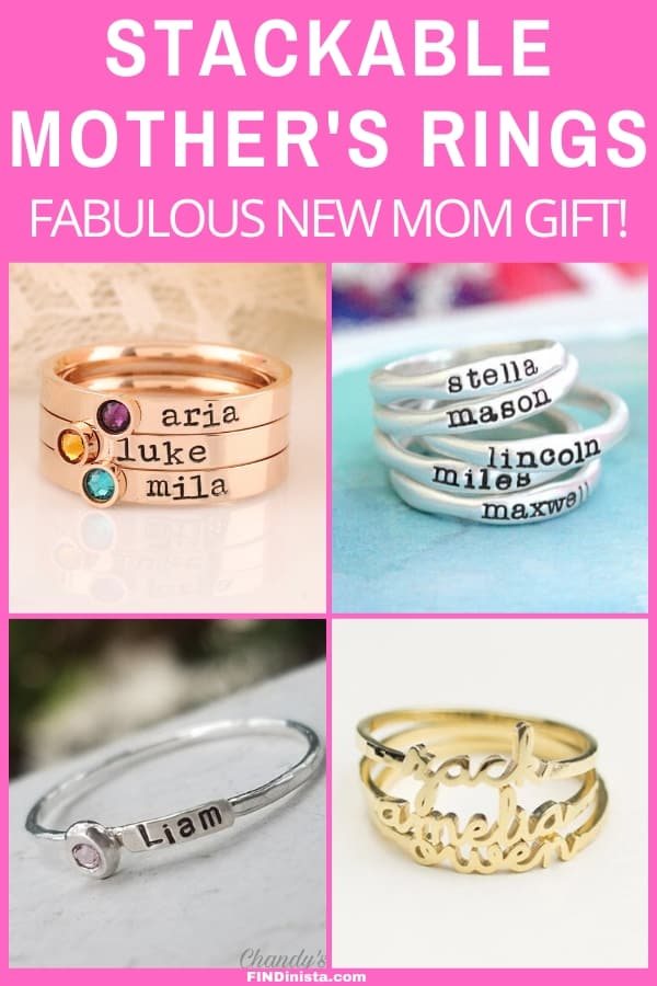 Stackable Mothers Rings - Looking for a fabulous new mom gift? Delight her with a trendy stacking Mothers ring!