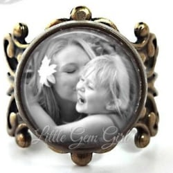 Custom Vintage Style Photo Ring - Silver or Bronze