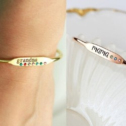 Personalized Nana Birthstone Bracelet - Silver, Gold or Rose Gold