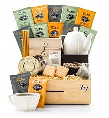 Tea Gift Basket with Tea Pot for One