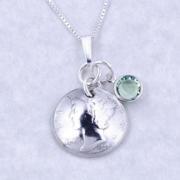 95th Birthday Necklace - 1925 coin with birthstone