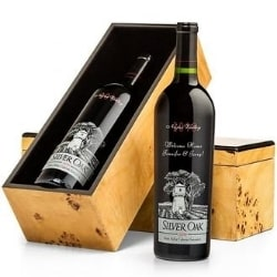 Engraved Silver Oak Cabernet in Burlwood Box