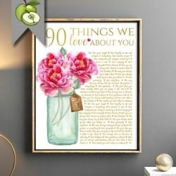 Floral 90 Things We Love About You Digital Print