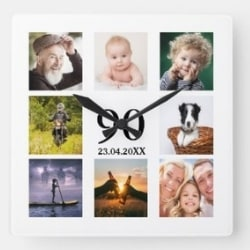 90th Birthday Photo Collage Clock