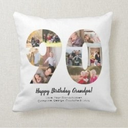 90th Birthday Photo Collage Pillow