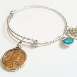 1926 Penny Bracelet with Birthstone and Initial Charm