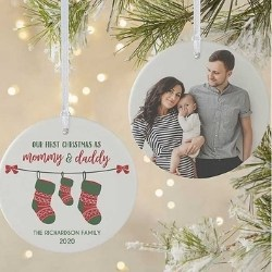 Personalized First Christmas as Mommy & Daddy Photo Ornament