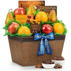 Fresh Fruit and Godiva Chocolate Gourmet Gift Basket