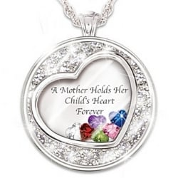 A Mother Holds Her Child's Heart Forever Personalized Birthstone Necklace