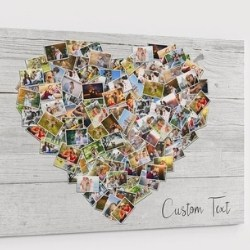 100 Pictures Heart Collage with Personalized Message