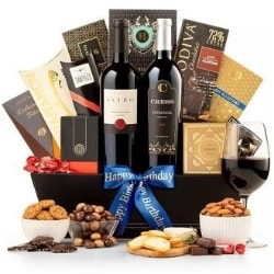 The Luxury Birthday Wine Gift Basket - Free Shipping