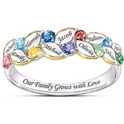 Our Family Grows with Love Personalized Birthstone Ring for Mom