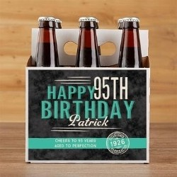 Personalized 95th Birthday Beer Carrier or Bottle Labels