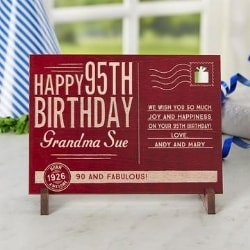 Personalized 95th Birthday Wooden Postcard - 6 Colors