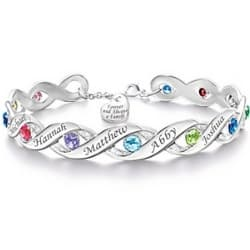 Forever and Always a Family Birthstone Bracelet with up to 12 Names