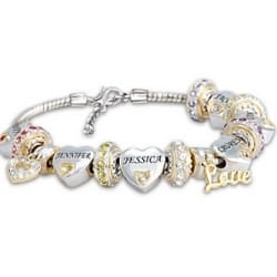 Forever in a Mother's Heart Personalized Birthstone Bracelet with Names