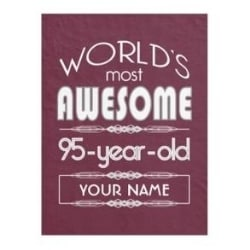 Personalized World's Most Awesome 95 Year Old Blanket