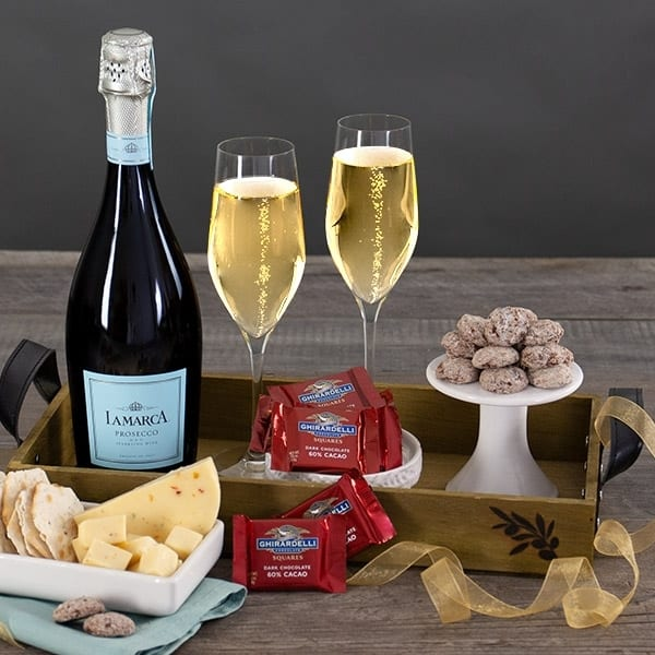 Elegant champagne gift basket is a fun 91st birthday gift for Mom, Dad, or any favorite person celebrating their birthday!