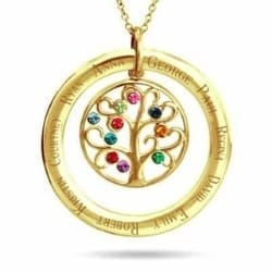 Family Tree Necklace with up to 10 Names and Birthstones - Silver or Gold