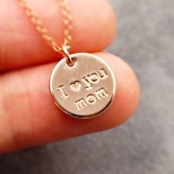 I Love You Mom Hand Stamped Necklace - Gold, Rose Gold or Silver
