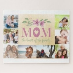 Mom, The Heart of The Family, Personalized Photo Jigsaw Puzzle