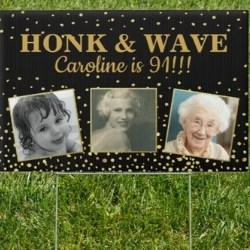 91st Birthday Drive by Parade Yard Sign with Photos
