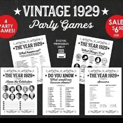 1929 Set of 4 Trivia Games - Instant Download