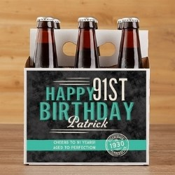 Personalized 91st Birthday Beer Carrier or Bottle Labels