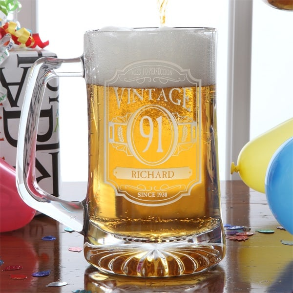 Handsome personalized beer mug is a great birthday or Christmas gift for any 91 year old man.