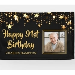 Personalized 91st Birthday Banner with Photo