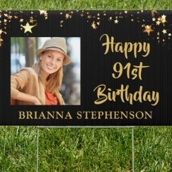 Personalized Happy 91st Birthday Yard Sign with Photo
