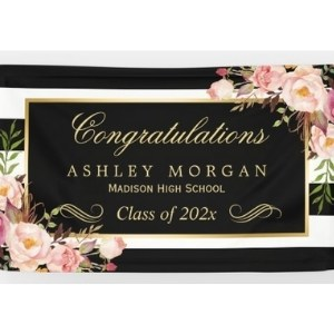 Personalized Floral Graduation Banner for Girls